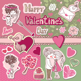 The Cute Couple Illustrator 02 Vector