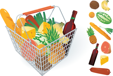 Frutas e legumes e cesta de compras 04 vector
