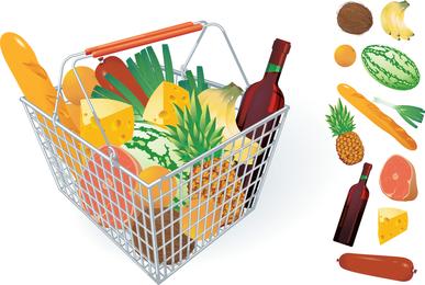 Frutas Y Verduras Y Cesta De Compras 04 Vector