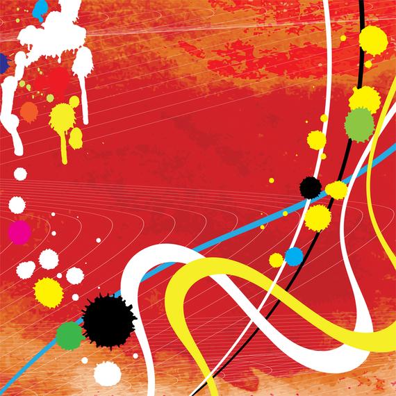 Colorful grunge ink splatters background