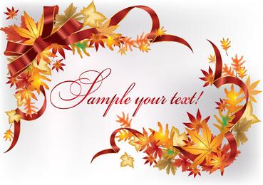 Beautiful Leaves Card 02 Vector