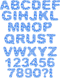 Crystal Clear Water Droplets Letters Vector