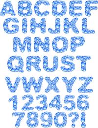 Vector de letras gotitas de agua cristalina