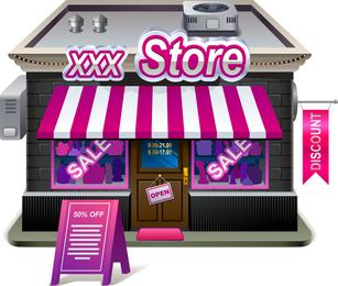 Small Shops Model 03 Vector
