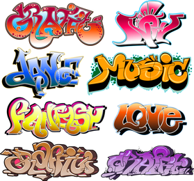 Beautiful Graffiti Font Design 02 Vector