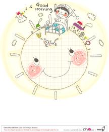Familia de Corea lindo dibujo lineal vector 2
