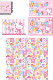 Olá Kitty padrão e design de cartão