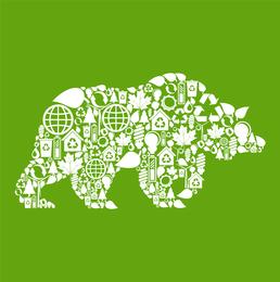 Elementos ambientales del collage Imágenes de animales Vector 4