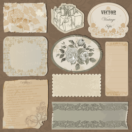 Classic Postcards And Stamps 04 Vector