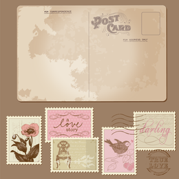 Classic Postcards And Stamps 03 Vector
