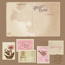 Postais clássicos e selos 03 Vector