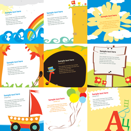 Kindergrußkarten-Schablonen-Vektor nett