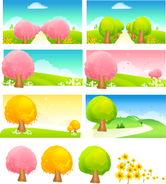 Seasonal Changes Of Trees Vector