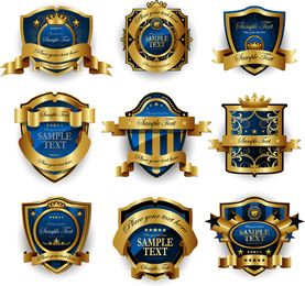 Kit of 9 blue and gold emblems