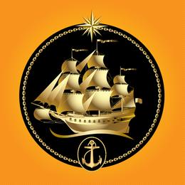 Gold Segelboot