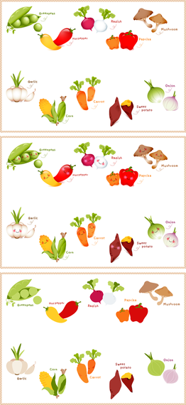 Lovely Fruits And Vegetables Vector