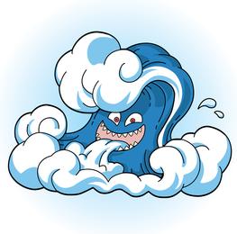 Cara cómica de la ola del tsunami
