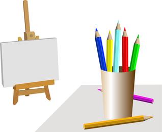 Suministros de dibujo vectorial 3