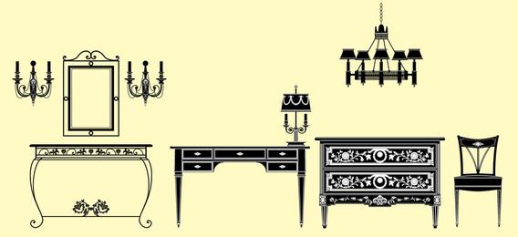 Muebles europeos iluminacion decoracion vectorial