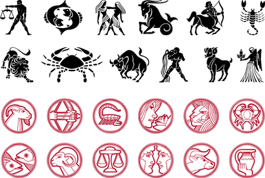 Horoscope animals and icons set