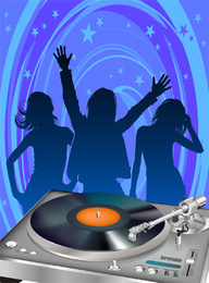 Disco Dj Vector design with silhouettes
