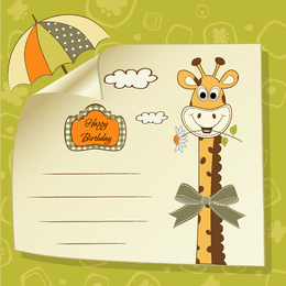 Giraffe Greeting Card 03 Vector