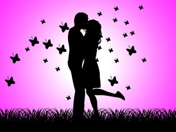 Casal feliz e o vetor de casal