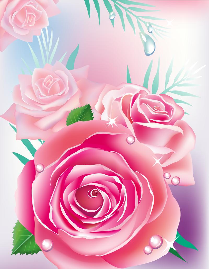 Rosas Pintadas Con Diseno De Hojas Descargar Vector - Diseos-de-rosas
