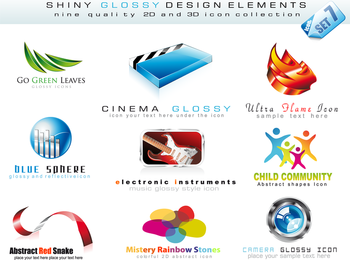 Estilo 3D Logo Template Vector Nonoriginal Works