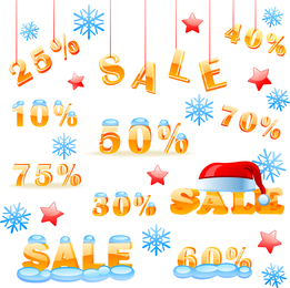 Gráfico de vendas de desconto de inverno do vetor