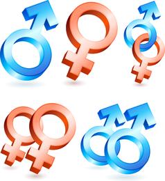 Vetor De Símbolos Masculinos E Femininos