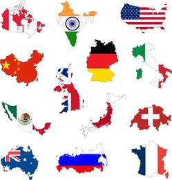 Território Nacional Com Bandeira 01 Vector