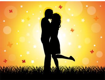 Par, beijando, ilustração