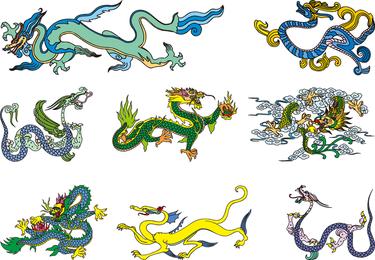 Vector dragão chinês clássico dos dois