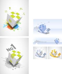 Vetor de tema de cubo de Rubik