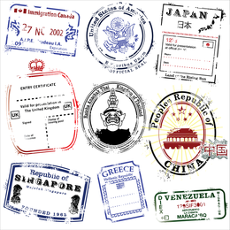 Postmarks Vector In Several Countries