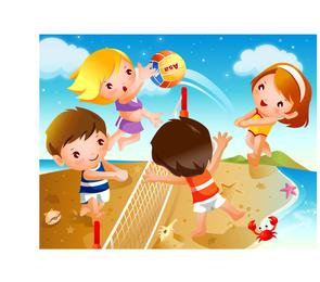 Vetor de movimento de voleibol de praia de crianças felizes