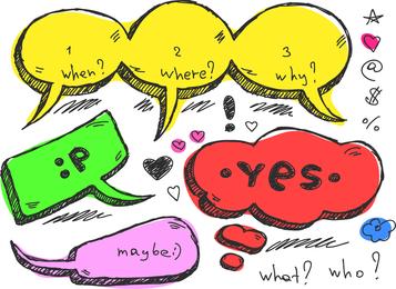 Adorável handdrawn diálogo bolha vector 5