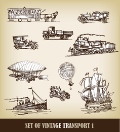 EuropeanStyle Handdrawn Transporte Carrier 02 Vector