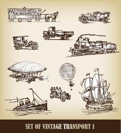 Vetor De Portador De Transporte 02 Handdrawn Europeanstyle