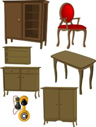 Una variedad de muebles muebles clip art