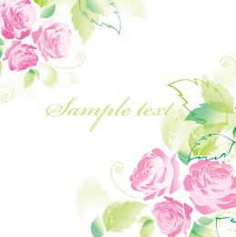 Hermosas Rosas Tarjetas de Felicitación 03 Vector