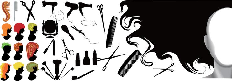 Material de vetor de elemento de série de cabeleireiro
