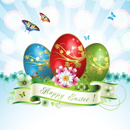 Easter Cards And Decorations Butterfly Eggs 05 Vector
