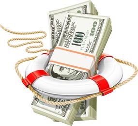 Dólar de bóia de corda de vetor