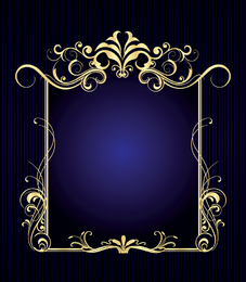 Decorative frame over blue