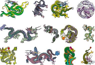 Vector dragão chinês clássico dos oito