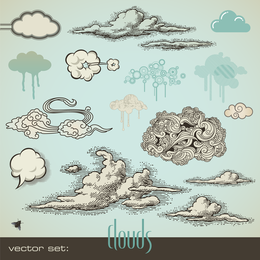 Pen Drawing Style Vector Clouds