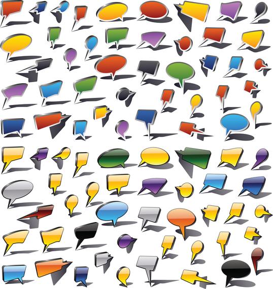 Bolhas do discurso colorido e gráfico de vetor de balões de diálogo