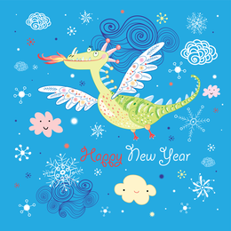 New Year doodle dragon card